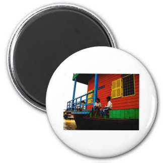 Cambodia floating village 6 cm round magnet