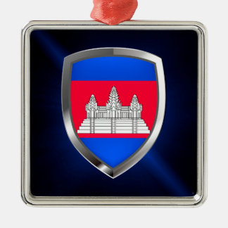 Cambodia Metallic Emblem Silver-Colored Square Decoration