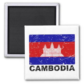 Cambodia Vintage Flag Square Magnet