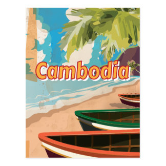 Cambodia Vintage travel poster Post Card