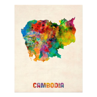 Cambodia Watercolor Map Personalised Flyer