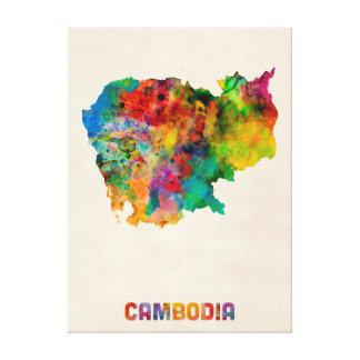 Cambodia Watercolor Map Gallery Wrap Canvas