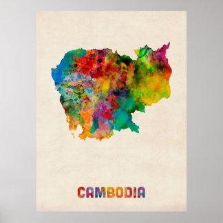 Cambodia Watercolor Map Poster