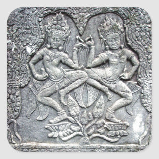 Cambodian dancers stone carving square sticker
