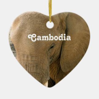 Cambodian Elephant Ceramic Ornament