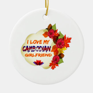 Cambodian Girlfriend designs Double-Sided Ceramic Round Christmas Ornament