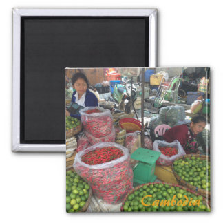 Cambodian Market — Chili Peppers and Limes Square Magnet