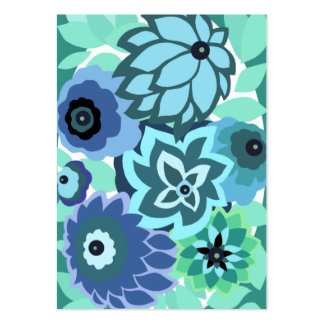 CAMBRIA, ART DECO FLORALS: TRENDY TURQUOISE BUSINESS CARD