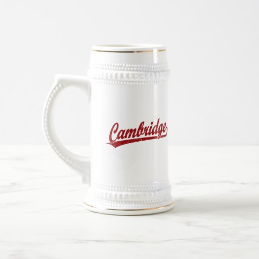 Cambridge script logo in red mug