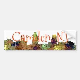 Camden New Jersey Skyline SG Safari Buff Bumper Sticker