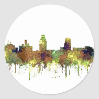 Camden New Jersey Skyline SG Safari Buff Classic Round Sticker