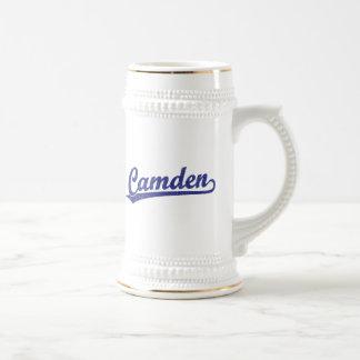 Camden script logo in blue beer steins