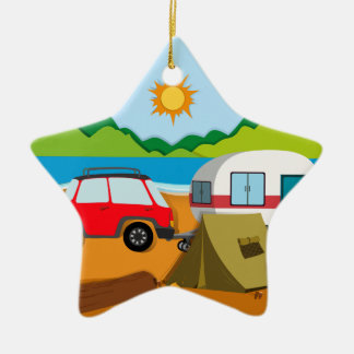 Cameground with tent and caravan ceramic star decoration