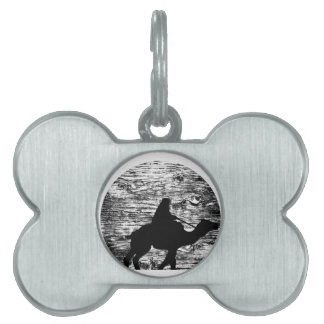 Camel and Bedouin with Moon in Background Pet Tag