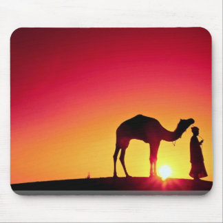 Camel and driver at sunset, India Mouse Pads