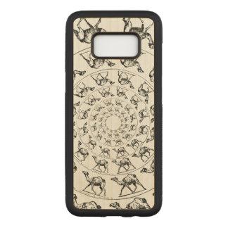 Camel Black Ink Drawing Illustration on Wood Carved Samsung Galaxy S8 Case