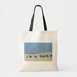 Camel caravan crossing the Sahara Canvas Bag