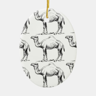Camel herd art ceramic ornament