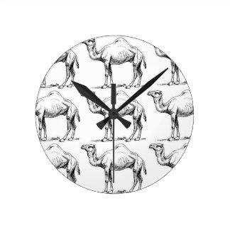 Camel herd art round clock