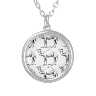 Camel herd art silver plated necklace
