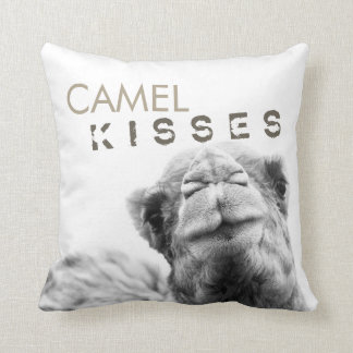 Camel Kisses Black and White Throw Pillow
