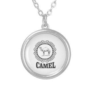 camel logo art silver plated necklace
