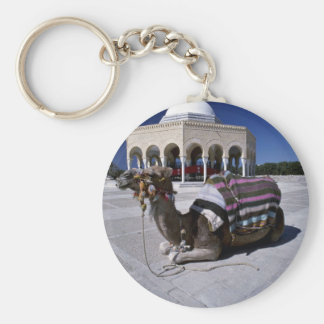 Camel resting in front of dome, Monastir, Tunisia Key Ring