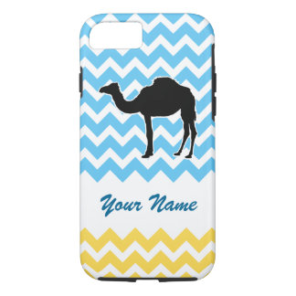 Camel Silhouette on Blue and Yellow Chevron iPhone 7 Case