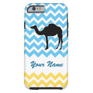 Camel Silhouette on Blue and Yellow Chevron Tough iPhone 6 Case