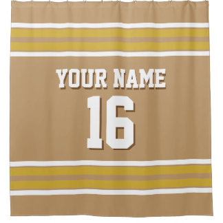 Camel Tan Gold White Stripes Sports Jersey Shower Curtain