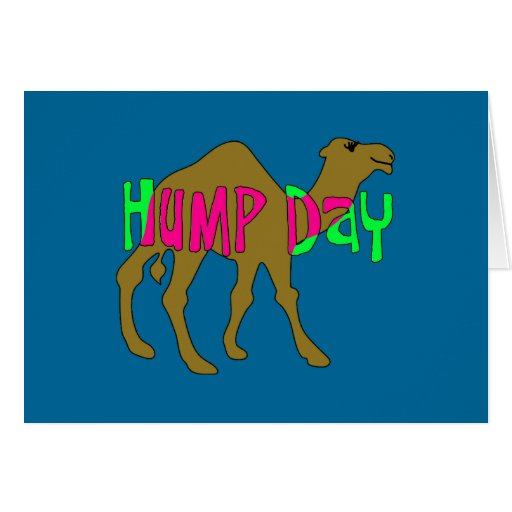 Camel with Hump Day in Pink and Green Greeting Card