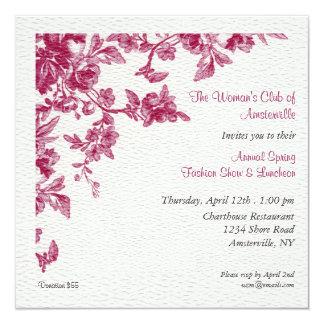 "Camelias Spring Luncheon Invitation 5.25"" Square Invitation Card"
