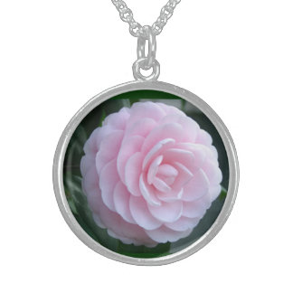 Camellia Flower  Sterling Silver Necklace