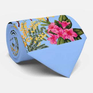 camellia, forsythia, rhododendron and acacia tie