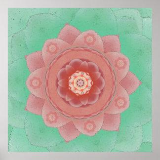 Camellia Lotus Mandala Print
