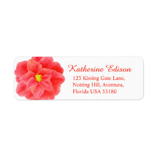 Camellia red wedding sticker reply labels