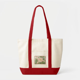 Camellia Striped Garden Flowers Painting Tote Bags