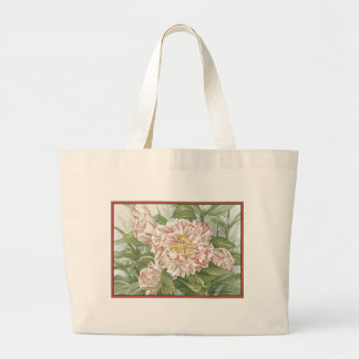 Camellia Striped Garden Flowers Painting Jumbo Tote Bag