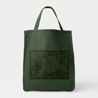 Camellia Striped Garden Flowers Painting Grocery Tote Bag