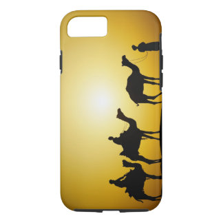 Camels and camel driver silhouetted at sunset, iPhone 7 case