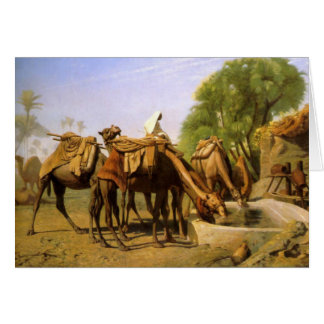 """Camels At the Trough"", by Jean Leon Gerome Card"
