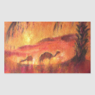 Camels in the desert of Sahara Rectangular Sticker