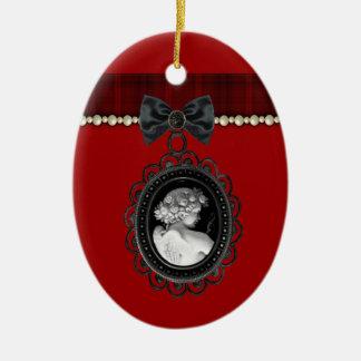 Cameo and Plaid Goth Wedding Keepsake Ceramic Ornament