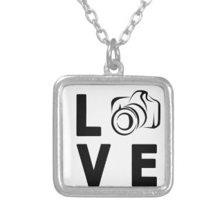 camera and love silver plated necklace