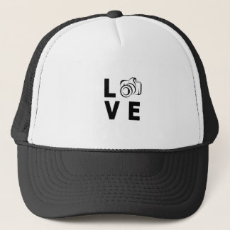 camera and love trucker hat