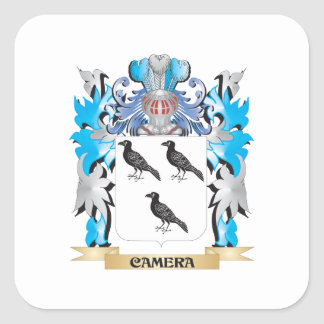 Camera Coat of Arms - Family Crest Square Stickers