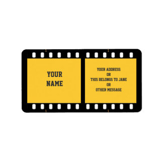 Camera Film Strip Yellow Name Gift Tag Bookplate Address Label