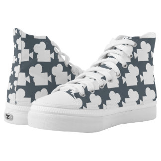 Camera high top shoes (grey) printed shoes