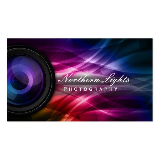 Camera Lens & Aurora Photography Business Cards