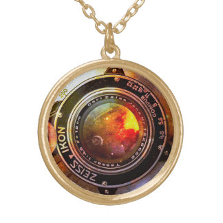 camera lens gold-plated necklace